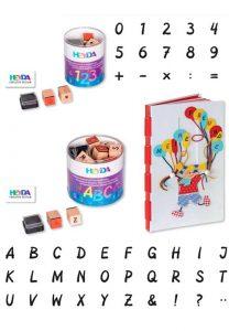 tampones sellos de letras y numeros