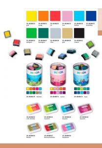 tinta tampones y sellos de colores